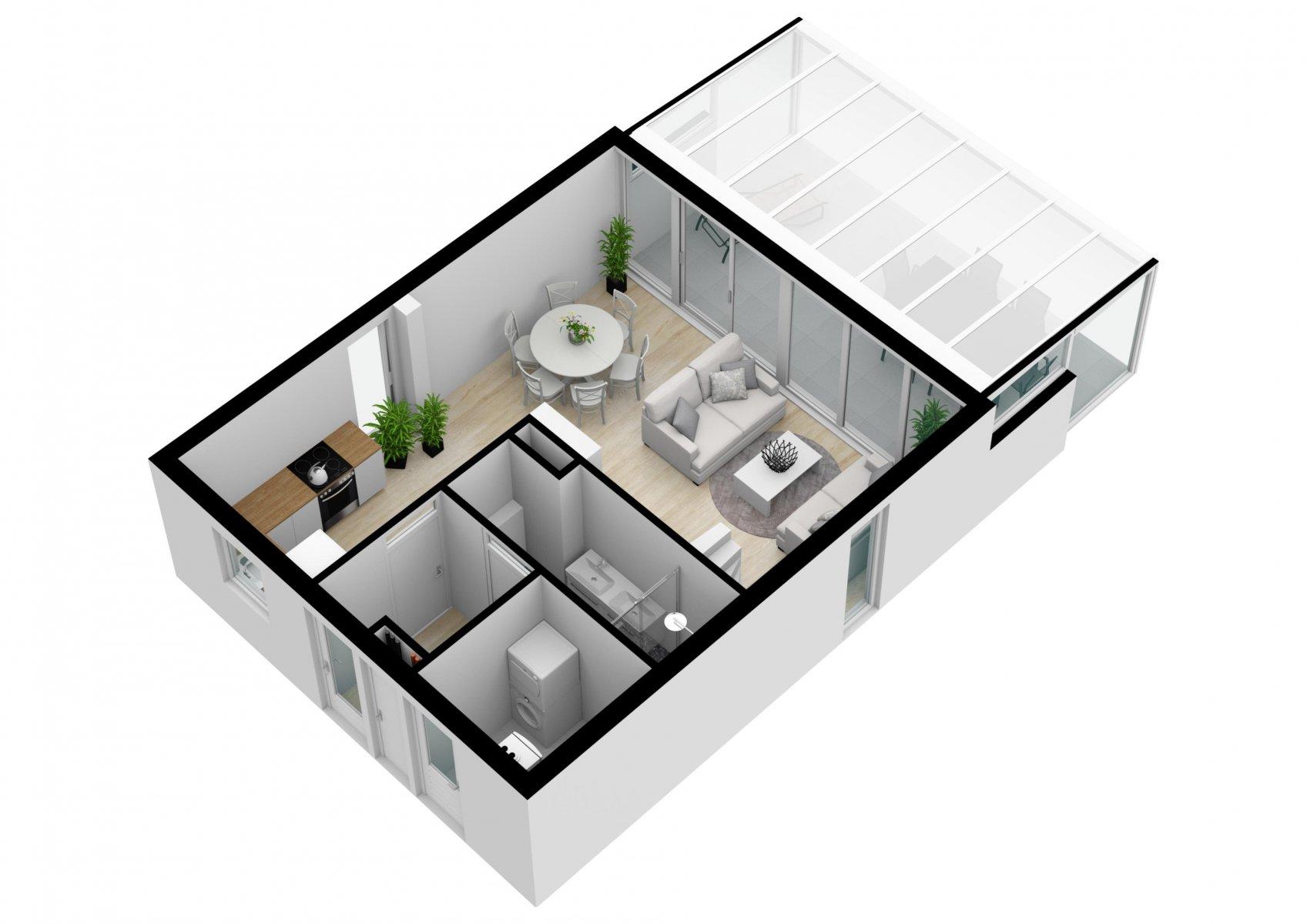 Der 3-D-Grundriss vom Erdgeschoss